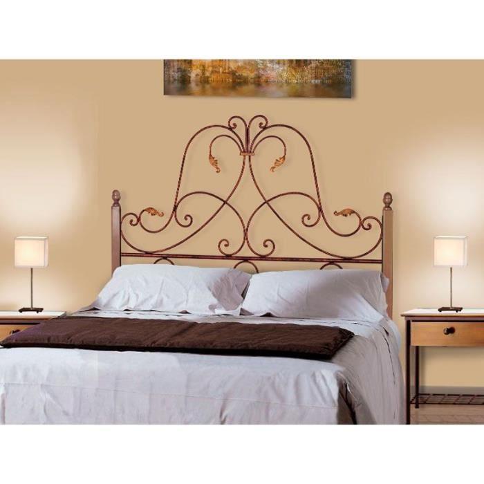 T te de lit en fer forg et bois mod le diana achat vente t te de lit - Modele tete de lit en bois ...