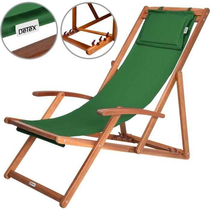 chaise longue pliante en bois tissu vert achat vente chaise longue chaise longue pliante. Black Bedroom Furniture Sets. Home Design Ideas