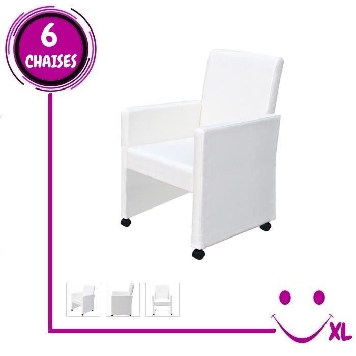 6 fauteuils de salon blancs simili cuir roulettes achat vente chaise blanc cdiscount. Black Bedroom Furniture Sets. Home Design Ideas