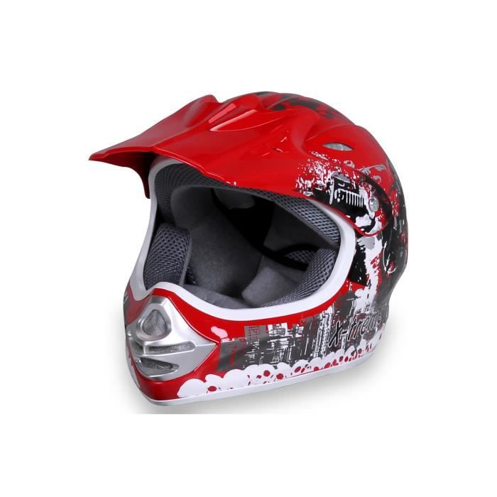 casque cross moto enfant x treme sport couleur rouge taille xs achat vente casque moto. Black Bedroom Furniture Sets. Home Design Ideas