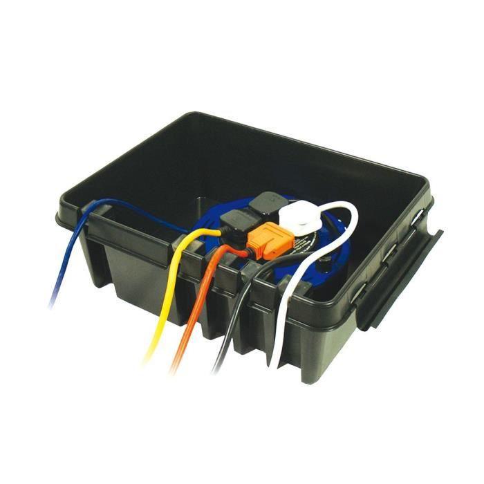 dribox tanche en plastique 4 prises pour appareils d 39 eclairage ext rieur noir achat vente. Black Bedroom Furniture Sets. Home Design Ideas