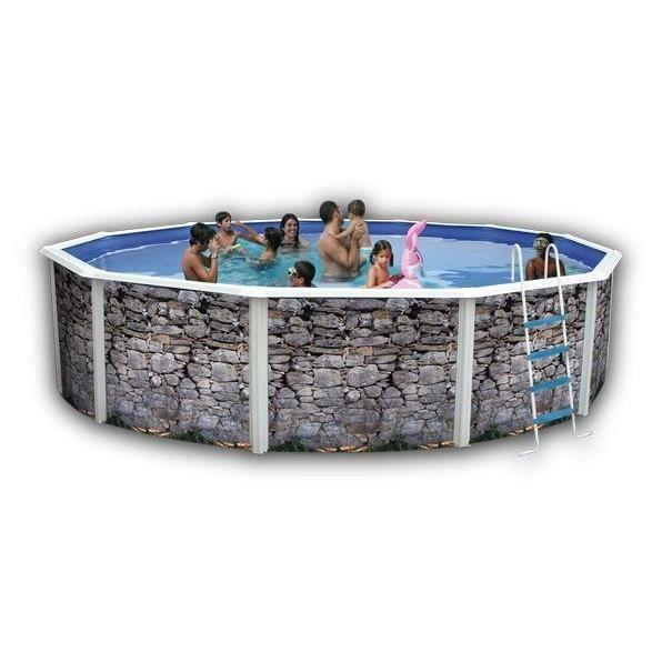 Pierre grise piscine en acier circulaire 550x120 achat for Piscine acier grise