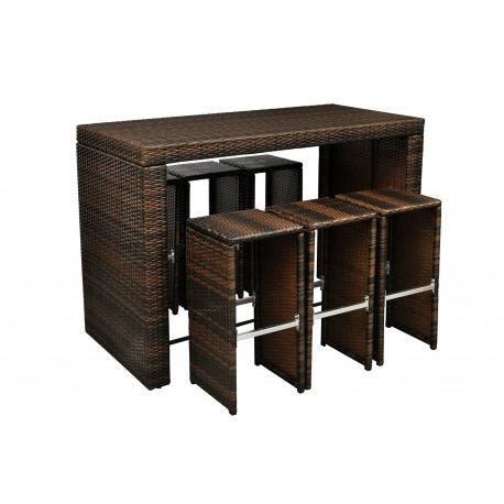 bar d 39 exterieur 6 tabourets marron maja achat vente salon de jardin bar d 39 exterieur 6. Black Bedroom Furniture Sets. Home Design Ideas