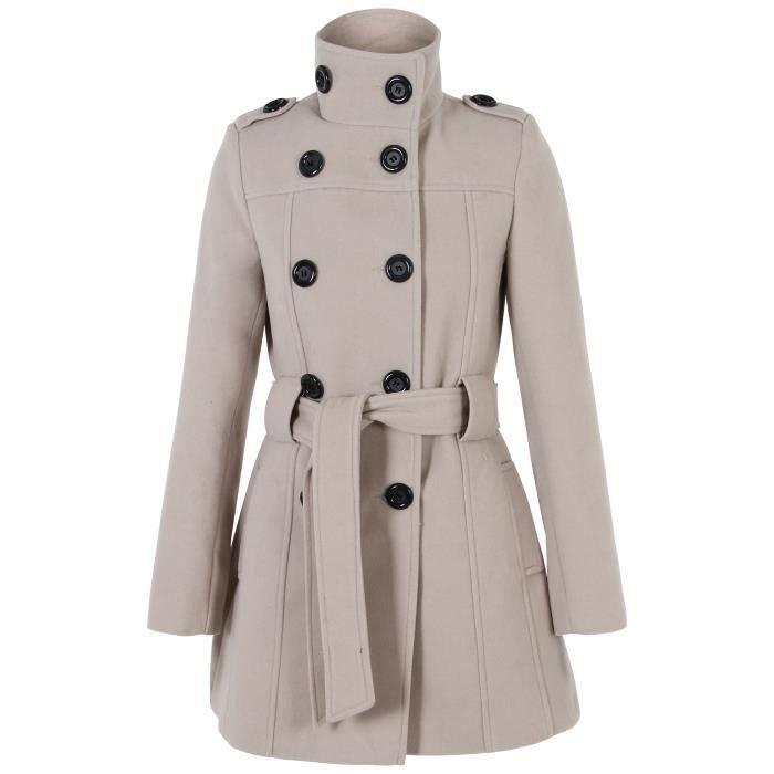 femme manteau militaire boutons ceinture laine col montant chaud hiver achat vente manteau. Black Bedroom Furniture Sets. Home Design Ideas