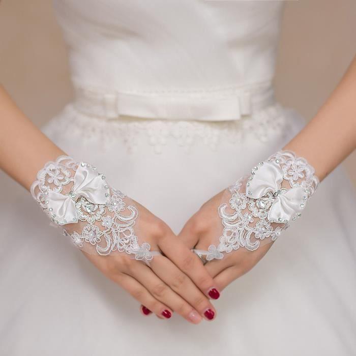 gants de la mari e fleur broderie gants mariage c r monie blancs blanc blanc achat vente. Black Bedroom Furniture Sets. Home Design Ideas