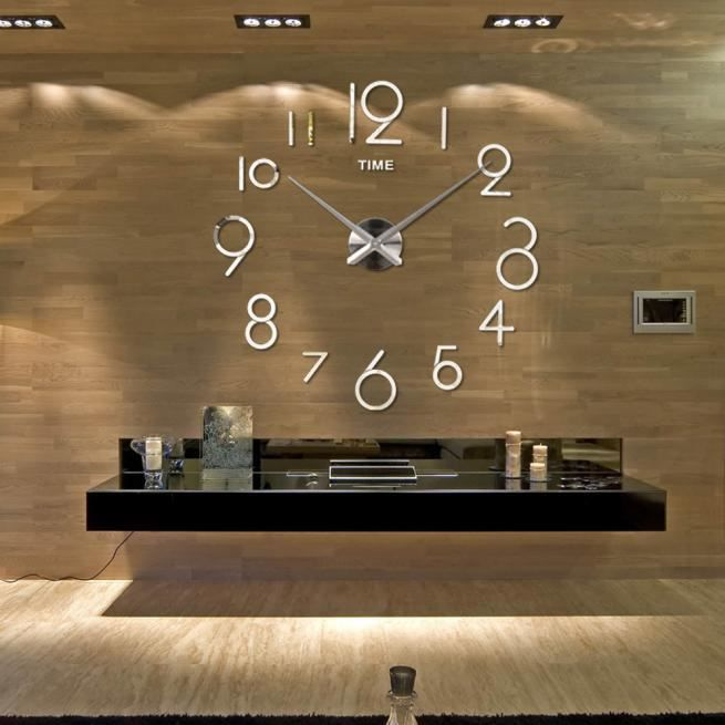 Horloge murale Salon DIY Décoration intérieure 3D Miroir Grand ...
