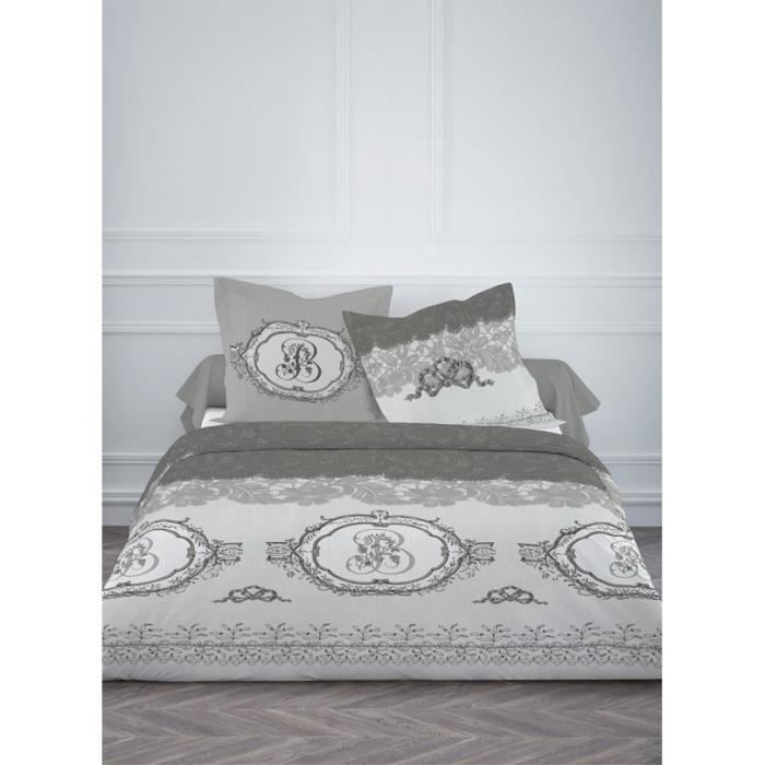 housse de couette 220 x 240cm 100 coton dentelle gris 2 taies achat vente housse de. Black Bedroom Furniture Sets. Home Design Ideas