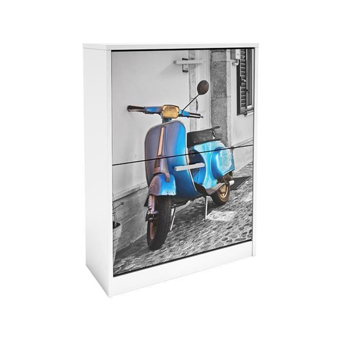 Commode meuble chaussures motif scooter bleu achat vente meuble cha - Commode a chaussures ...