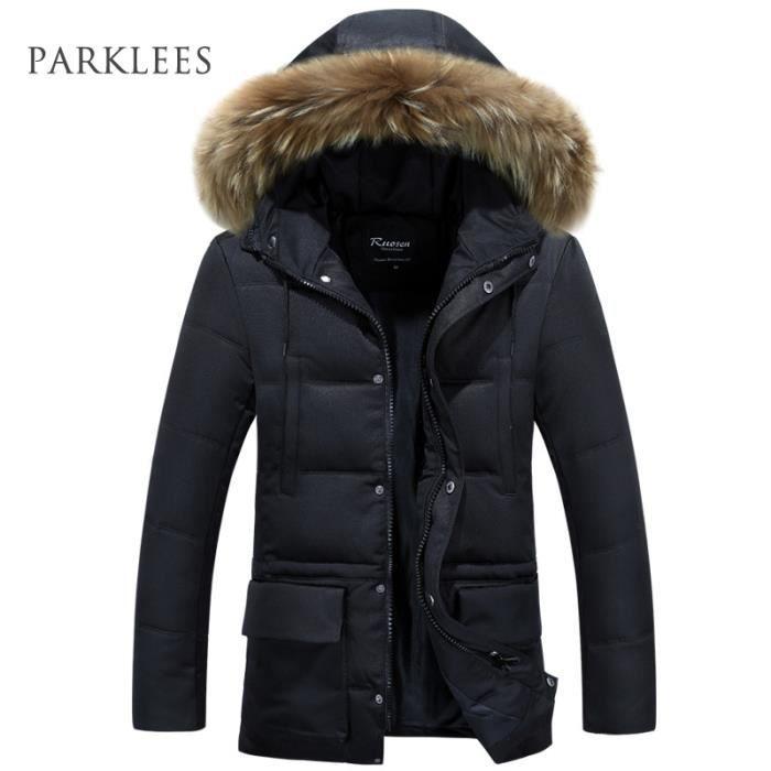 parka homme a fourrure capuche hiver marque lux noir noir achat vente parka soldes. Black Bedroom Furniture Sets. Home Design Ideas