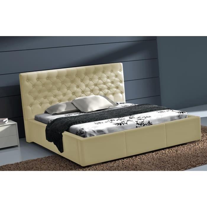 Lit capitonn cuir pu astor 160x200 cm pour plus de confort le lit astor es - Lit en cuir capitonne ...
