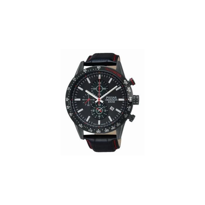 montre homme pulsar cuir chronographe pf8445 achat vente montre cdiscount. Black Bedroom Furniture Sets. Home Design Ideas