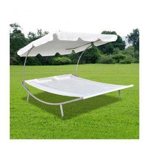 bain de soleil auvent 2 places blanc maja achat. Black Bedroom Furniture Sets. Home Design Ideas