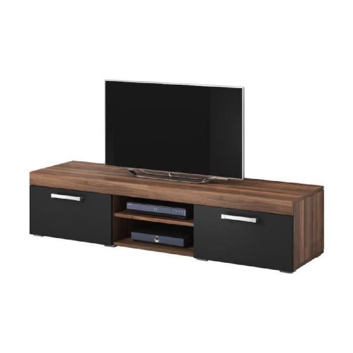Mambo meuble tv contemporain d cor prunier et noir 160 for Finlandek meuble tv mural katso 160cm blanc et noir