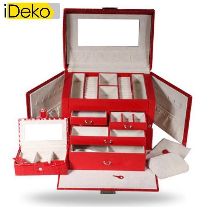 ideko coffret bijoux max pu cuir 4 tages rouge jolie bo te bijoux achat vente boite a. Black Bedroom Furniture Sets. Home Design Ideas