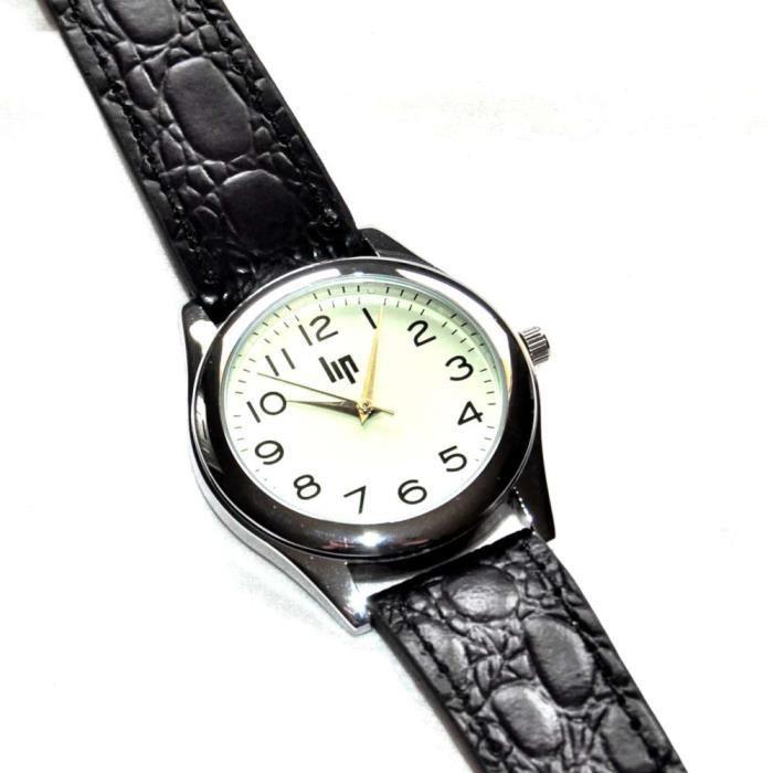 bijou montre homme de la marque lip classics bracelet cuir noir comme neuve achat vente. Black Bedroom Furniture Sets. Home Design Ideas