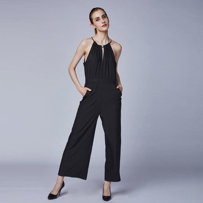 2016 et dernier mode noir combipantalon de femme sans manche combinaison avec bretelle fine. Black Bedroom Furniture Sets. Home Design Ideas