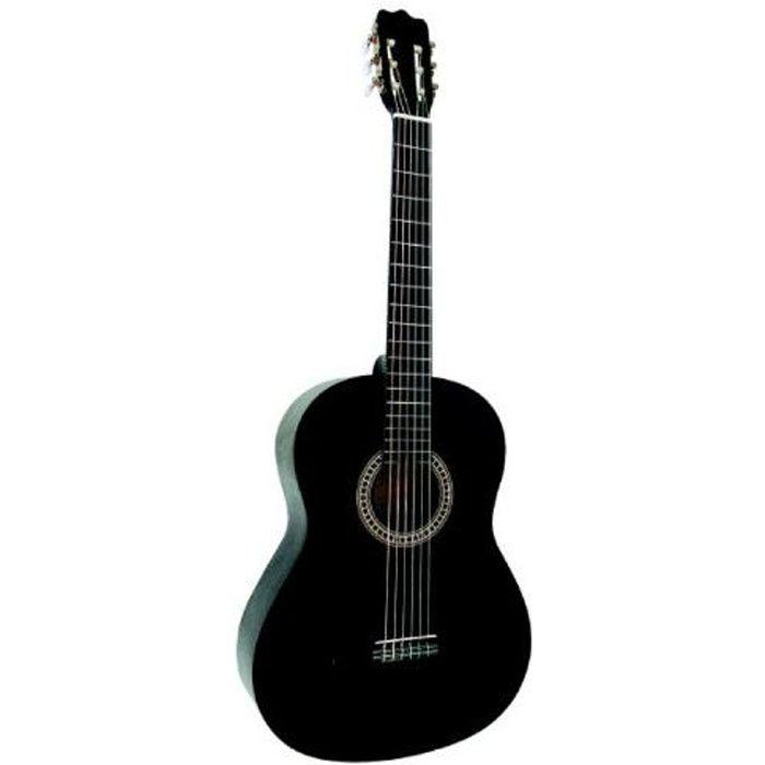 guitare classique 4 4 adulte noire pas cher achat. Black Bedroom Furniture Sets. Home Design Ideas