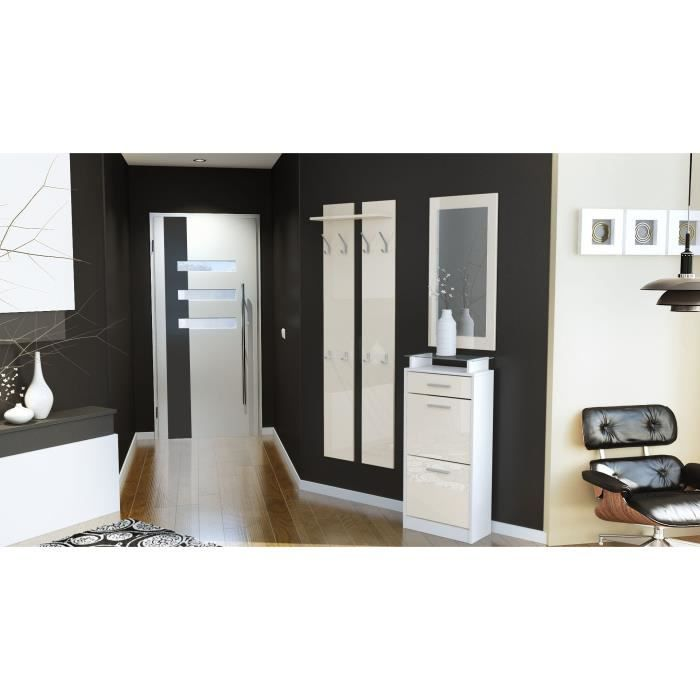 ensemble de hall d 39 entr e laqu design blanc et cr me achat vente meuble d 39 entr e ensemble. Black Bedroom Furniture Sets. Home Design Ideas