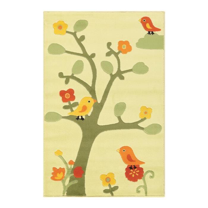 tapis pour enfant motifs oiseaux arbre et fleu achat vente tapis cdiscount. Black Bedroom Furniture Sets. Home Design Ideas