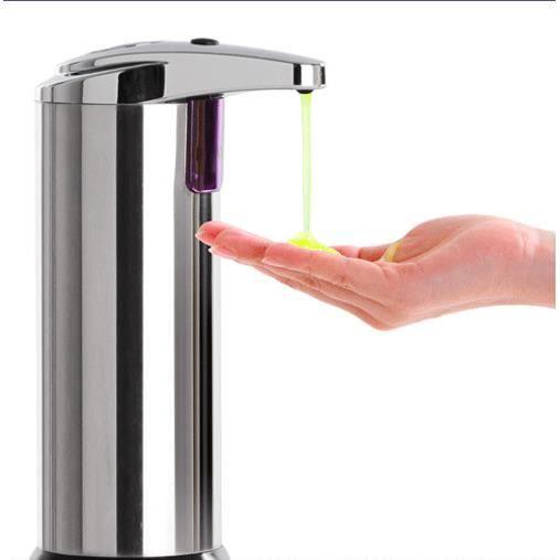 mains libres automatique ir capteur sans contact distributeur de savon liquide en acier. Black Bedroom Furniture Sets. Home Design Ideas