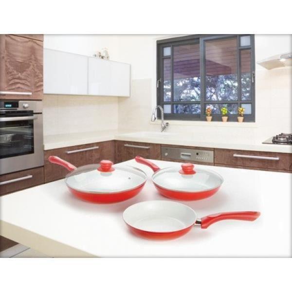 set de 3 po les ceramic avec 2 couvercles achat vente po le sauteuse set de 3 po les. Black Bedroom Furniture Sets. Home Design Ideas