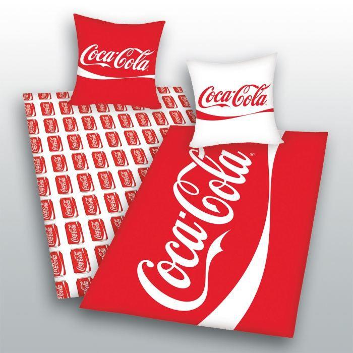 coca cola parure housse de couette taie rouge achat vente parure de couette cdiscount. Black Bedroom Furniture Sets. Home Design Ideas