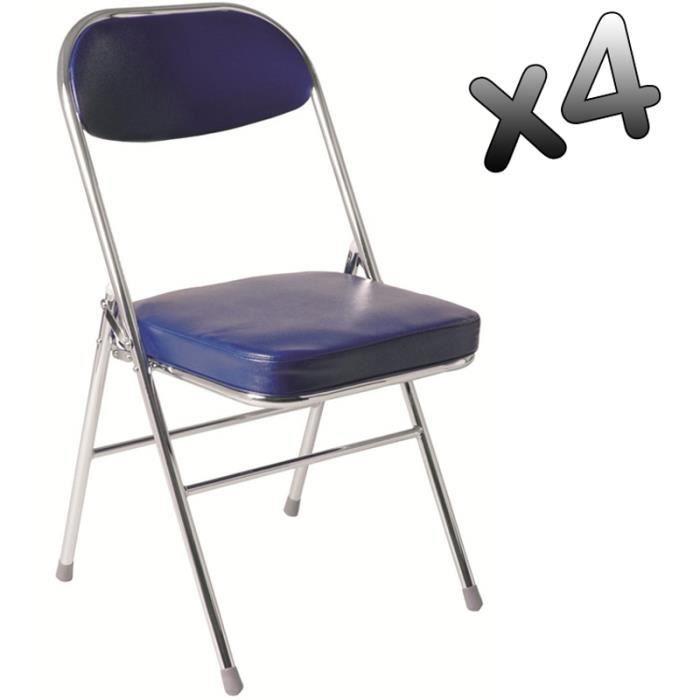 lot de 4 chaises pliante en tube d 39 acier coloris chrom. Black Bedroom Furniture Sets. Home Design Ideas