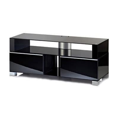 Porano 120 meuble tv hifi rangement moderne sur roulettes - Meuble rangement noir laque ...