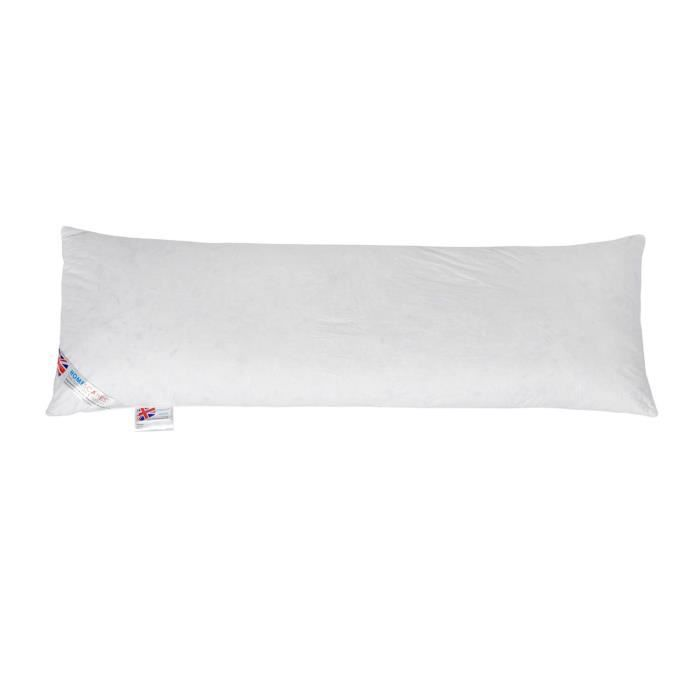 oreiller de corps en plumes de canard enveloppe 100 coton 50 x 140 cm blanc achat vente. Black Bedroom Furniture Sets. Home Design Ideas