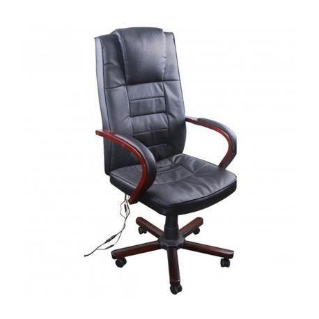 Fauteuil de bureau massant cuir noir maja achat vente chaise de bureau n - Siege bureau massant ...