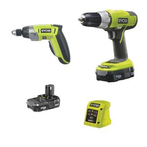 RYOBI coffret Perceuse 18V lithium + Tournevis 4V