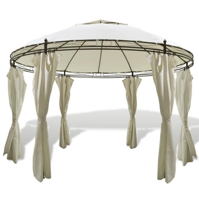 tonnelle ronde avec rideaux 3 5 x 2 7 m achat vente tonnelle barnum tonnelle ronde avec. Black Bedroom Furniture Sets. Home Design Ideas