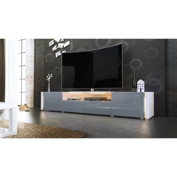 Meuble TV blanc et gris sans LED - Achat / Vente meuble tv ...