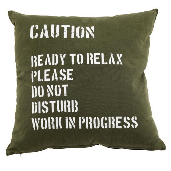 coussin d coratif kaki avec message blanc 50x50 achat vente coussin coussin d coratif kaki. Black Bedroom Furniture Sets. Home Design Ideas
