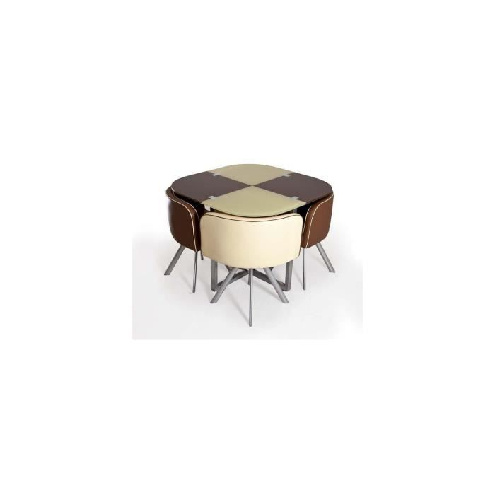 Table damier choco beige 4 chaises achat vente table for Table a manger 4 chaises