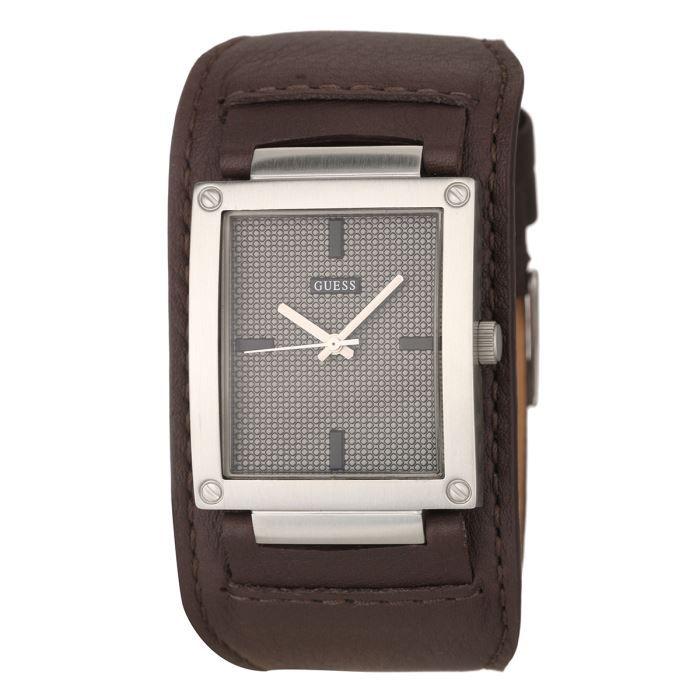 guess montre quartz w0359g1 bracelet cuir homme achat. Black Bedroom Furniture Sets. Home Design Ideas