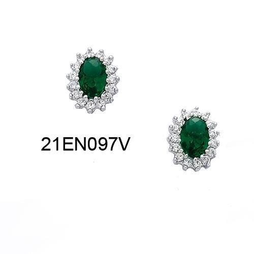 Boucles d 39 oreilles puce en argent zirconium vert achat vente boucle d 39 oreille boucles d - Fermoir boucle d oreille argent ...