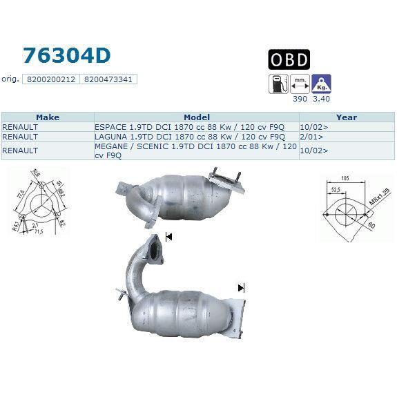 pot catalytique renault espace magnaflow achat vente pot catalytique pot catalytique renault