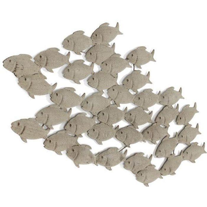 D coration murale avec banc de poissons en m tal achat for Decoration murale en metal