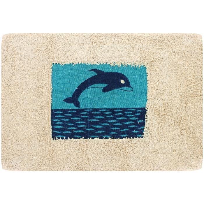 tapis de salle de bain dauphin bleu m diterran e 100 coton d co zen achat vente tapis de. Black Bedroom Furniture Sets. Home Design Ideas