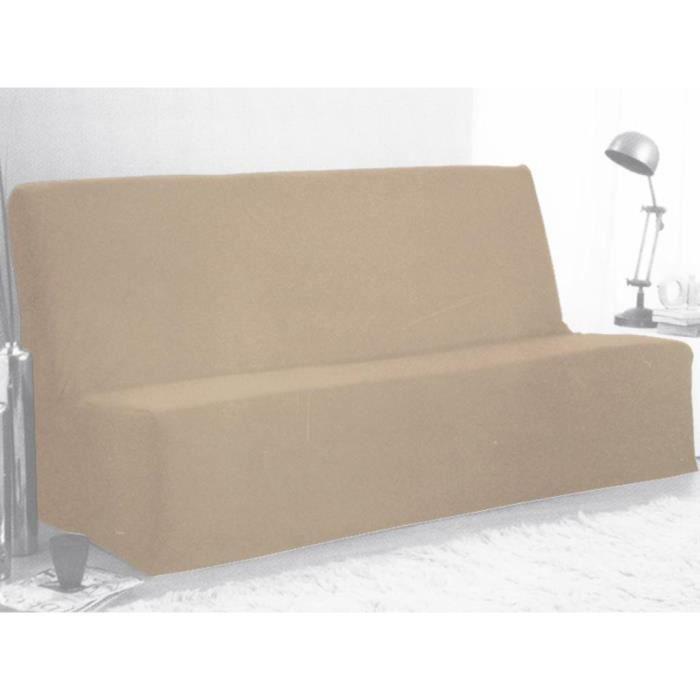 housse clic clac en coton panama beige achat vente housse de canape cdiscount. Black Bedroom Furniture Sets. Home Design Ideas