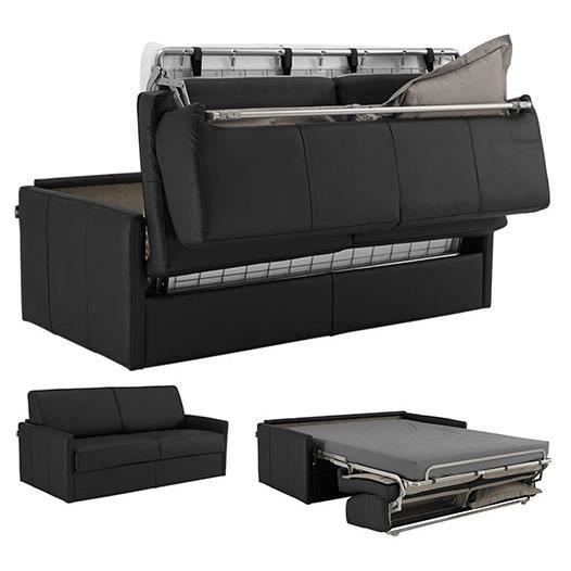 Canap lit cuir recycl 140x190 option memory achat for Transformer un lit en canape
