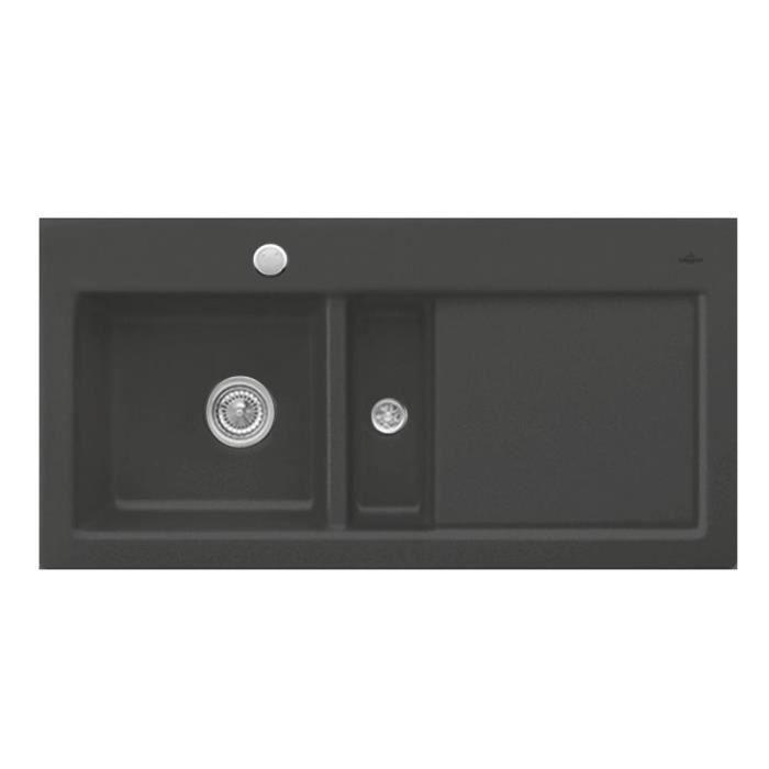 evier c ramique noir brillant villeroy boch subway 1 bac 1 2 gouttoir droite achat vente. Black Bedroom Furniture Sets. Home Design Ideas
