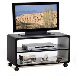 Meuble tv contemporain en panneaux de particules gris for Meuble tv bois noir