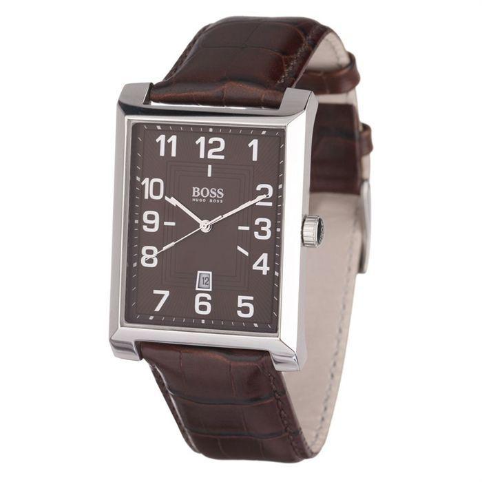 hugo boss montre homme marron classique achat vente montre cuir cdiscount. Black Bedroom Furniture Sets. Home Design Ideas
