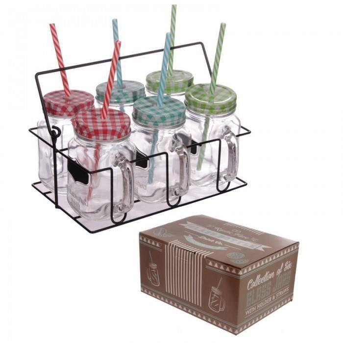 Lot de 6 bocaux avec pailles verres d 39 anatn achat vente verre eau soda cdiscount - Verre a paille ...