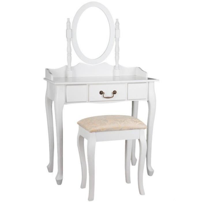 Coiffeuse bois blanche miroir tabouret 1401005 achat vente coiffeuse coif - Coiffeuse avec tabouret ...