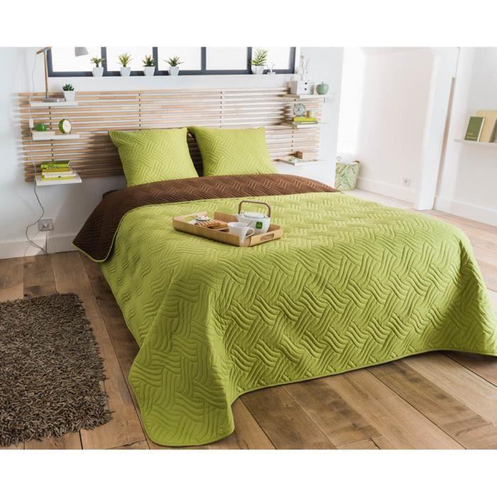 boutis 220x240 bicolore chocolat et anis et 2 taies assorties achat vente jet e de lit. Black Bedroom Furniture Sets. Home Design Ideas