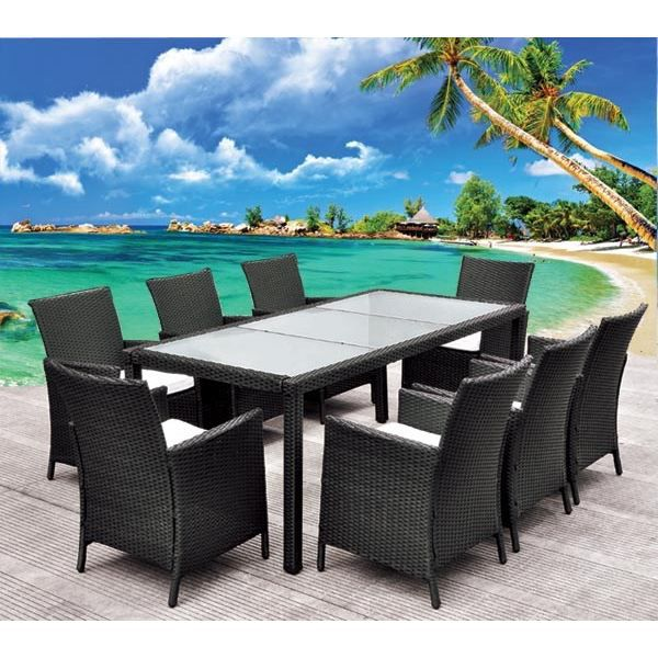 Table de jardin roma noir achat vente salon de jardin table de jardin roma noir cdiscount for Housse de table de jardin en resine