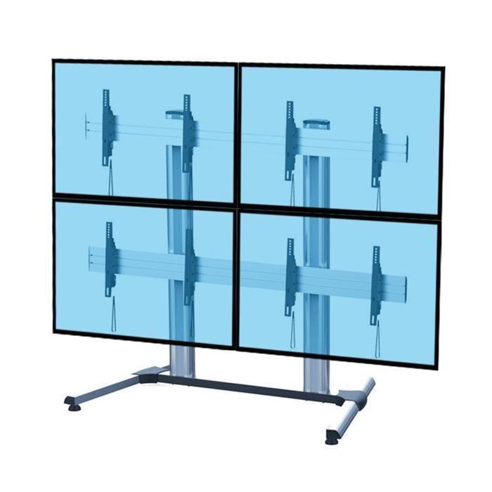support colonne mobile pour 4 crans 45 55 fixation support tv avis et prix pas cher. Black Bedroom Furniture Sets. Home Design Ideas